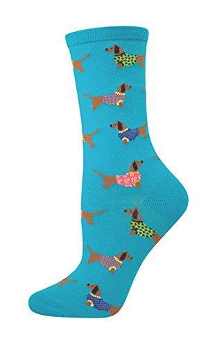 Socksmith Women's Blue Lagoon Haute Dog Crew Socks, OSFM 9-11