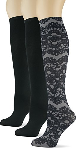 Fashion Knee Socks - Knee High Trouser Socks w/ Colorful Printed Patterns - Made in USA by Sox Trot (3 Black & Lace)