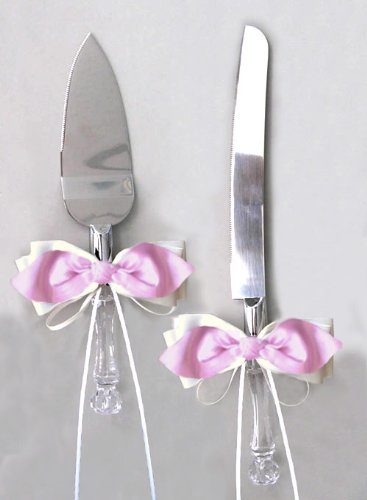 Pink Satin Bow Ivory Ribbon Cake Knife And Server Set For Wedding Or Ceremony