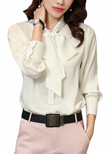 Generic Women Elegant Bow Tie Lapel Long Sleeve Chiffon Blouse