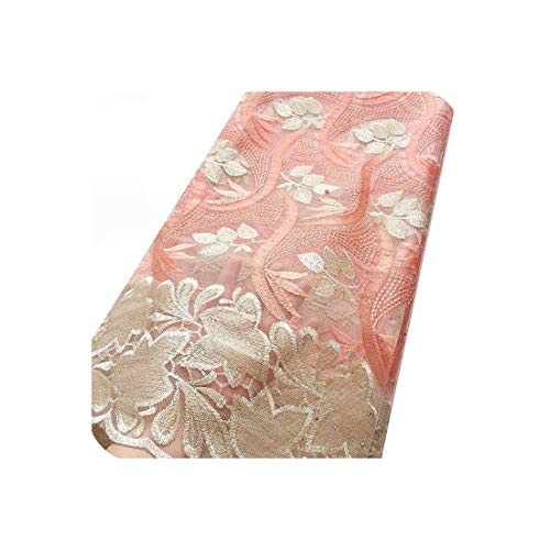 V African Lace Fabric 2019 Cord Nigerian Lace Fabric Wedding French Tulle Net Lace Fabric for Dresses,Peach