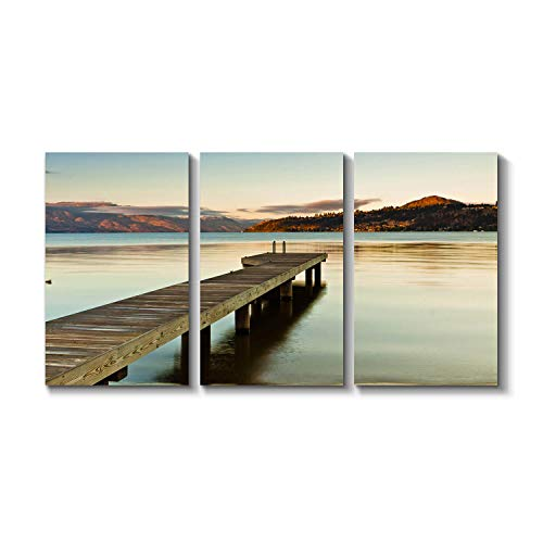 Ocean Pier Picture Dock Artwork - Bridge to The Beach Graphic Art ()