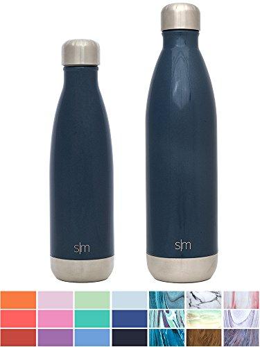 Simple Modern 25 oz Wave Water Bottle - Vacuum Sealed Double Wall Sip by Travel Mug 18/8 Stainless Steel Navy Hydro S'well Leak Proof Flask - Deep Ocean