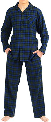 (NORTY - Mens Cotton Blackwatch Plaid Flannel Sleep Pajama Sets, Blue, Green 40782-Large)