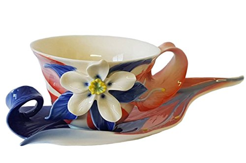 - Franz Columbine Wildflowers Design Sculptured Porcelain Cup & Saucer, New