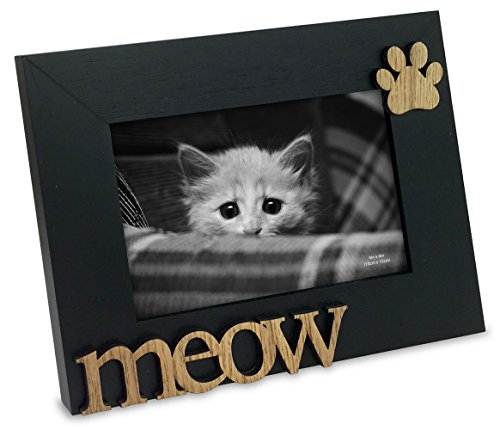 "Isaac Jacobs Black Wood Sentiments Cat ""Meow"" Picture Frame, 4x6 inch"