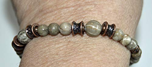 Fossil Coral Gemstone Stretch Bracelet for man or woman Michigan stones and copper Professional grade Stretch Cord beaded jewelry
