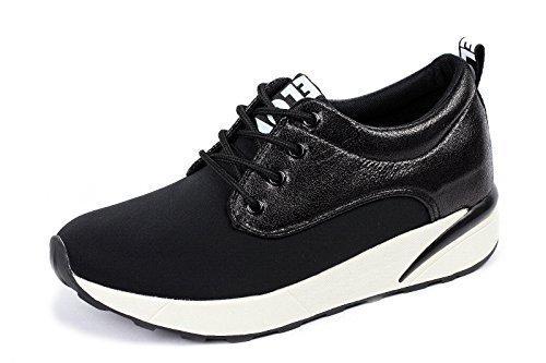 Damen Mode Schnürer Damen Sneaker Flache Schuhe Sneakers Fitnessstudio Pumps - Schwarz, EU 36
