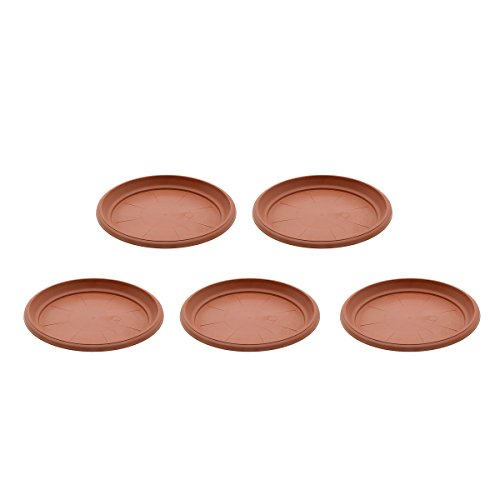 Saim Coffee Plastic Round Saucers Plant Pot Saucers Potted Plant Saucer Clay Plant Saucer Flower Plant Pot Saucer Pallet Trays For Indoor & Outdoor Plants, 8.9-Inch Diameter, Pack of 5 by Saim