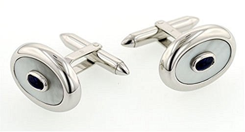 18KT White Gold, Mother of Pearl and Sapphire Cufflinks - Sapphire White Gold Cufflinks
