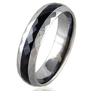 6 mm con incrustaciones de cerámica anillo de tungsteno pulido