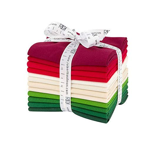 Robert Kaufman Kona Cotton Solids Holiday Fat Quarter Bundle 12 Precut Cotton Fabric Quilting FQs Assortment FQ-1379-12 (Cotton Quilt Holidays Fabric)