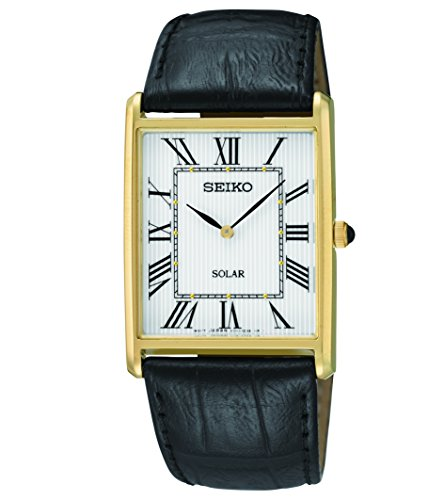 Seiko Men's SUP880 Analog Display Japanese Quartz Black Watch Black Leather Square Watch