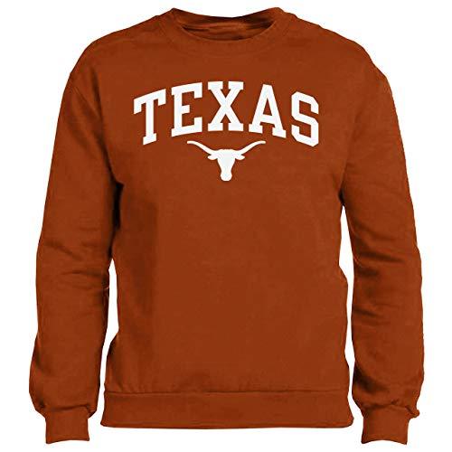 289c apparel Texas Longhorns Mens UT Orange Arch Screened Crew Sweatshirt (Large)