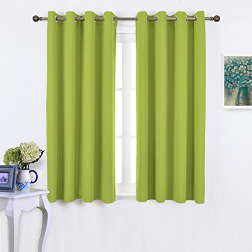NICETOWN Green Blackout Curtains for Windows - Home Decor Thermal Insulated Solid Grommet Top Blackout Curtains / Panels / Drapes for Kid's Room (1 Pair, 52 x 45 Inch in Fresh Green) (Panels Curtain Kitchen)