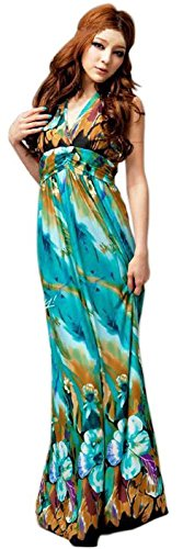 Asian Dress Up Ideas (Women Summer Printed Bohemian Summer Maxi Dress Empire Waist Boho Halter V-neck Long Beach Dresses)