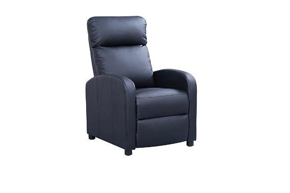 Deluxe | Sillón Relax Reclinable Natural Compact Premium | Diseño Anti-Estrés Envolvente | Polipiel de máxima Calidad (Negro)