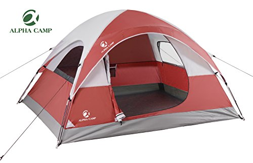 ALPHA CAMP Dome Tent 3 Person Dome Camping Tent with Carry Bag – 8′ x 7′ Red