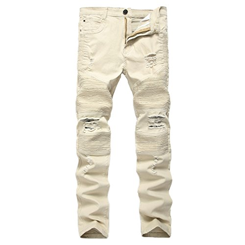 Bruce Lin Men's Fashion Destroyed Elasticity Skinny Ripped Denim Jeans With Hole (32 US, White Khaki-1)