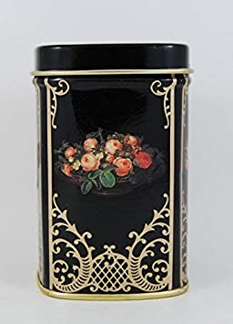 1 Other Red Rose Collectable Vintage Metal Trinket Box Small Black Metal Container