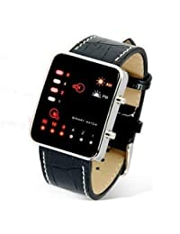 HDE Binary Code Digital Mens Watch LED Faux Leather Croc design Wrist Watch (Programmer Gift)