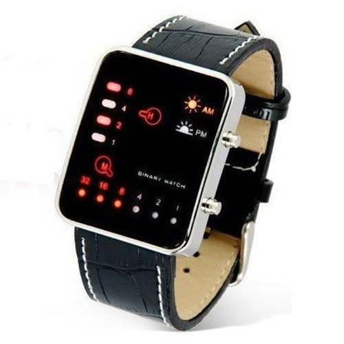 HDE Men's Digital Watch LED Display Binary Code Wristwatch with Croc Leather Band