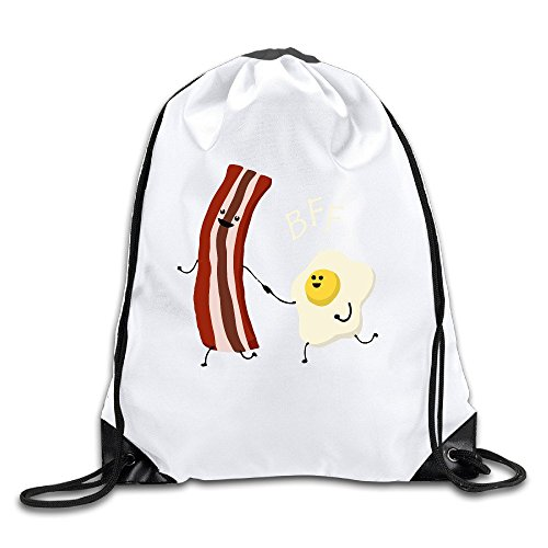 Runy Custom Bacon And Egg BFF Best Friends Adjustable String Gym Backpack Travel Bag White