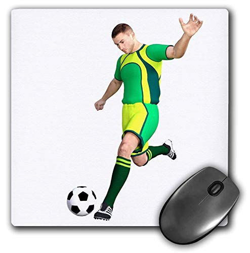 3dRose Boehm Graphics Sports - Soccer Player in Green and Yellow Kicking Soccer Ball - Mousepad (mp_234169_1)