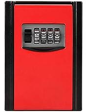caja de almacenamiento de llaves, caja de cerradura de combinación de 4 dígitos, caja de seguridad montada en la pared para llaves de repuesto de la casa, Airbnb, garaje(rojo)