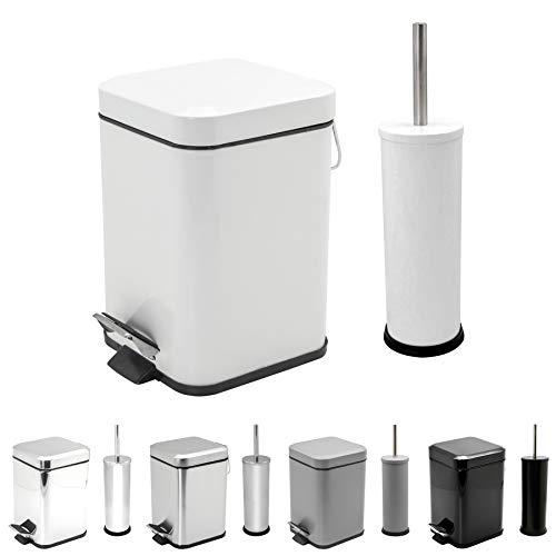 (Harbour Housewares Bathroom Pedal Bin & Toilet Brush Set - 3L Square Bin - White )