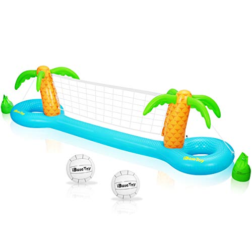 Water Volleyball Net - iBaseToy Inflatable Pool Volleyball Game Set with Adjustable Net and 2 Balls - Floating Water Volleyball Game Swimming Pool Game Toy for Adults and Kids (118
