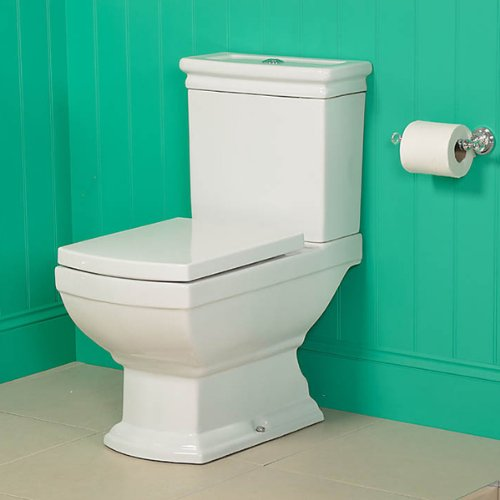 Traditional Square Toilet Close Coupled Pan Cistern and Soft Close Seat Better Bathrooms