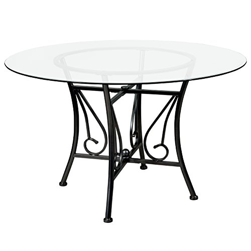 Flash Furniture Princeton 48'' Round Glass Dining Table with Black Metal Frame 48' Round Tempered Glass