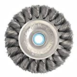 Weiler Steel Wheel Brush - 0.0118 in Bristle Dia Arbor Attachment - 8 in OD & 6000 Max RPM - 2 in Center Hole Size - 09410 [PRICE is per WHEEL]