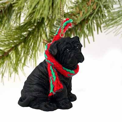 Shar Pei Miniature Dog Ornament - Black