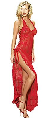Modes Plus Size Lingerie Halter See Through Red Lace High Split Long Gown Dress Set