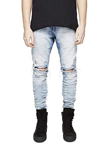 Moda Da Casual Pantaloni Alla Fit Jeans Gelb Denim Effetto Elasticizzati Uomo Buco Slim Vintage 0TTdFqwH