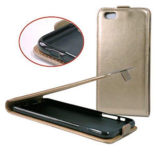 handy-point Flexi Flip Case Klapphülle Klapptasche Tasche Hülle Schutztasche Schutzhülle mit flexibler Gummischale für iPhone 6 Plus 6S Plus, Platin