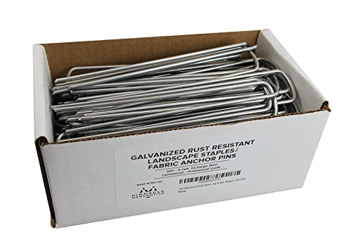 Price comparison product image 100 Galvanized Garden Landscape Staples Fabric Anchor Pins Anti Rust 6 inch 11 gauge Steel Made In USA By Pinnacle Mercantile