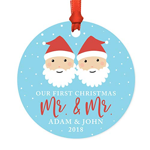 Andaz Press Personalized Gay Couple Wedding Metal Christmas Ornament, Our First Christmas as Mr. & Mr. 2018, Santa and Mrs. Claus with Elf, 1-Pack, Includes Ribbon and Gift Bag, Custom Name -  APP12194