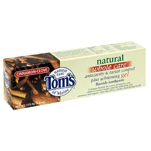 Tom's of Maine Natural Whole Care Anticavity & Tartar Control Plus Whitening Gel Fluoride Toothpaste, Cinnamon-Clove, 5.5-Ounce Tubes (Pack of 6) ()