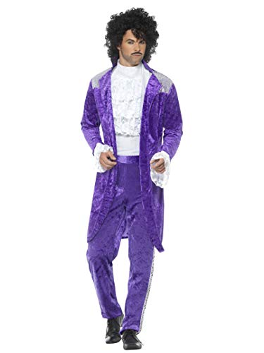 Smiffys Men's 80s Musician Costume, Purple, Medium -