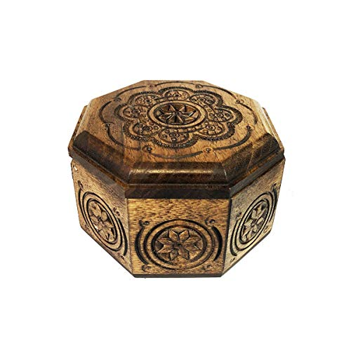 (Religious Carved Wooden Keepsake Box From Ukraine - Perfect for prayer Beads, Rosary, Jewelry and More 4 Inch )