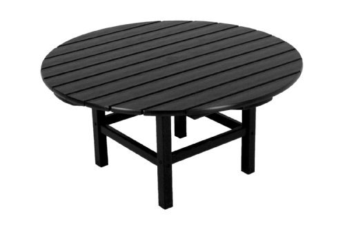 "POLYWOOD RCT38BL Round 38"" Conversation Table, Black - This classic 38"" conversation table is made with  fade-resistant POLYWOOD recycled lumber POLYWOOD recycled HDPE lumber has the look of painted wood without the upkeep real wood requires; requires no painting, staining, or waterproofing Heavy-duty construction withstands nature's elements; will not splinter, crack, chip, peel or rot and is resistant to stains, insects, fungi, and salt spray - patio-tables, patio-furniture, patio - 41EG%2BO%2BV4sL -"
