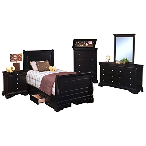 Black Hills Traditional Youth Sleigh 5 Piece Full Bed, Nightstand, Dresser & Mirror, Chest in Black by NCF