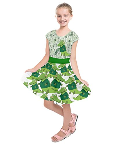 PattyCandy Girls Green Crocodiles Prints Kids Fun Short Sleeve Dress - ()