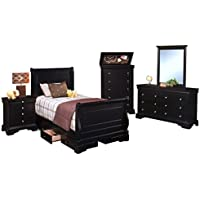 Black Hills Traditional Youth Sleigh 5 Piece Full Bed, Nightstand, Dresser & Mirror, Chest in Black
