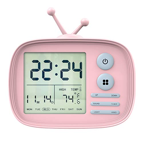 - MoKo Kids Alarm Clock, Silicone Case Cute Cartoon TV Digital Clock Bedroom Timer, Date Temperature Display with Snooze/Memory Function, Sound Control Backlight, Rechargeable, USB Powered - Pink