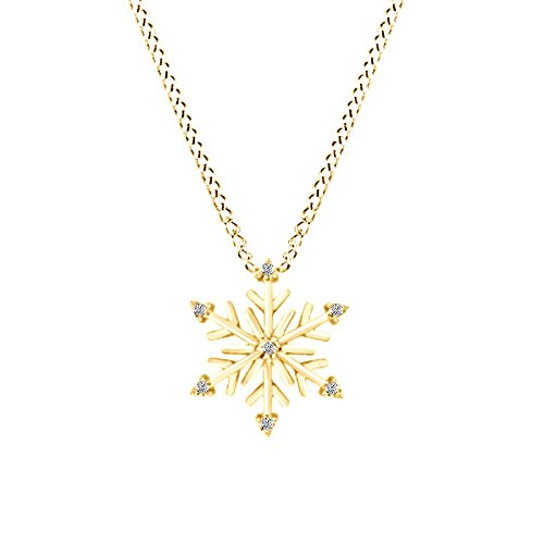Jewel Zone US White Natural Diamond Snowflake Pendant Necklace in 14K Yellow Gold Over Sterling Silver (1/10 Ct) ()