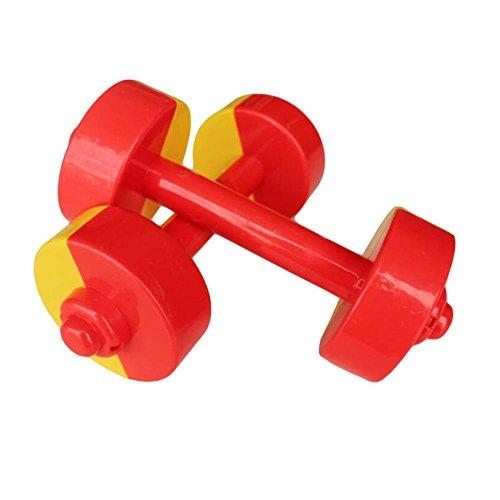子供用モーニングエクササイズ/イエロー&レッド用2対のおもちゃダンベル/プラスチックダンベル
